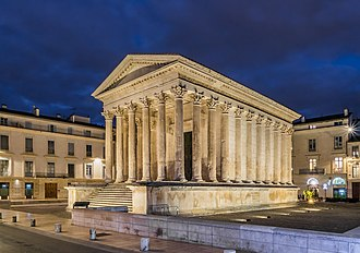 The Maison Carree in Nimes, one of the best-preserved Roman temples. Maison Carree in Nimes (16).jpg