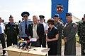 Maj. Gen. Vasyl Nikiforov, left; Lt. Gen. Serhiy Onyschenko, in white; Maj. Gen. Don Ralph, second from right; and Col. Scott Patten, right, stand with Maj. Gen. Paul Brown, front, as Brown conducts a press 110722-Z-ZZ999-078.jpg