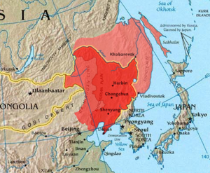 Outer Manchuria - Outer Manchuria is in light red on this map. Some also consider the island of Sakhalin to be part of Outer Manchuria.