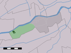 The town centre (dark green) and the statistical district (light green) of Streefkerk in the former municipality of Liesveld.