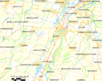 Map of the commune of Muret