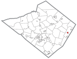 Location of Bechtelsville in Berks County