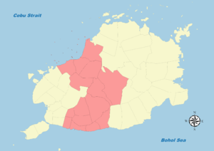 Legislative districts of Bohol - Map of Bohol's Second District (1907-1972)