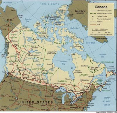 Mapa pol�tico do Canad�.