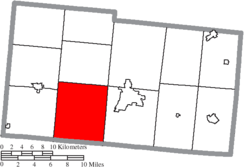 Location of Mad River Township in Champaign County