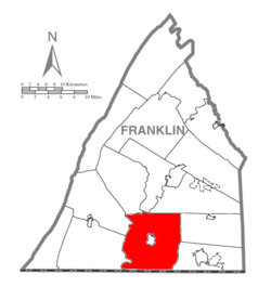 Map of Franklin County, Pennsylvania highlighting Antrim Township