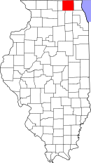 Map of Illinois highlighting McHenry County