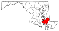 Map of Maryland highlighting Dorchester County.png