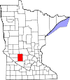 Map of Minnesota highlighting Kandiyohi County.svg