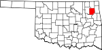 State map highlighting Mayes County
