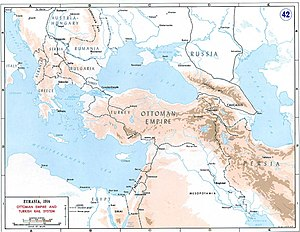 Dunsterforce - Map of the Ottoman Empire, Caucasus and Iran (Persia) in the First World War
