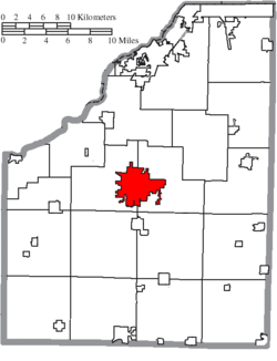 Location of Bowling Green in Wood County