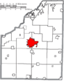 Map of Wood County Ohio Highlighting Bowling Green City.png