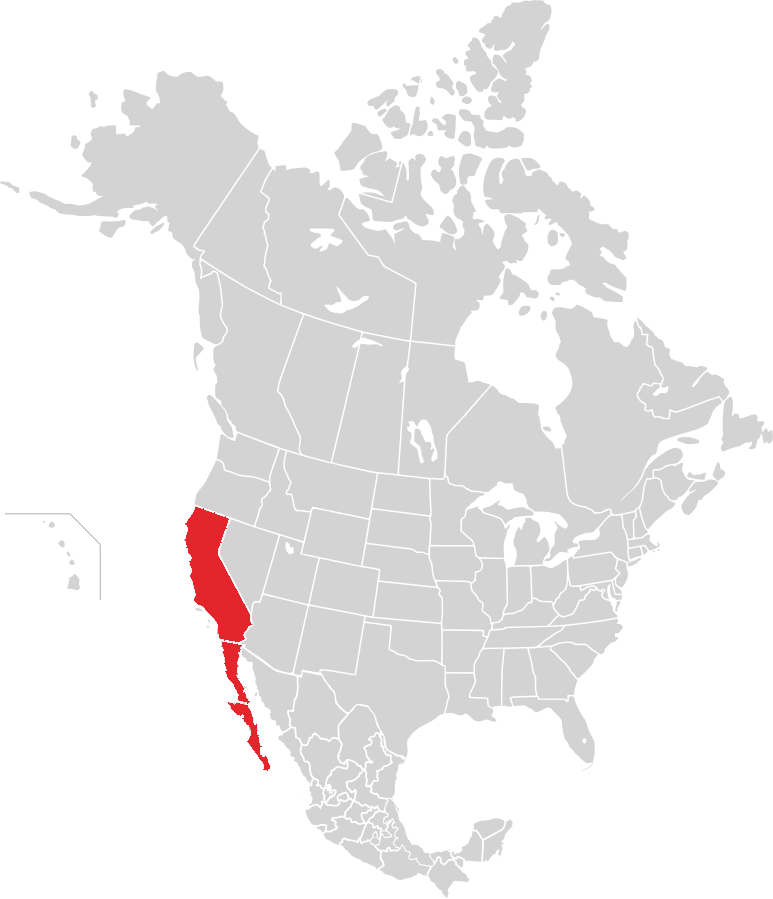 Map of the Californias (modern region)