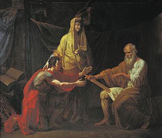 Marfa Boretskaya - Theodosy Boretsky gives Ratmir's sword to Miroslav, chief of Novgorodians and Martha's selected husband for her daughter Xenia, by Dmitry Ivanov, 1808