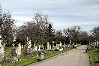 Margravine Cemetery - Central pathway through the cemetery