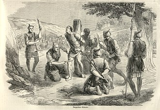 Christian martyrs - An 1858 illustration from the French newspaper, Le Monde Illustré, of the torture and execution of a French missionary in China by slow slicing