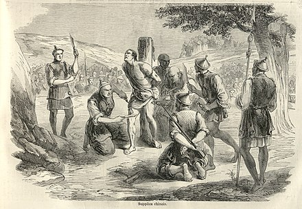An 1858 illustration from the French newspaper, Le Monde Illustre, of the torture and execution of a French missionary in China by slow slicing Martyrerp 2.jpg