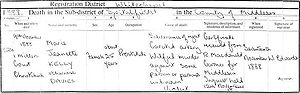 Mary Jane Kelly - Death certificate of Mary Jane Kelly, issued 17 November 1888