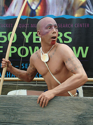 Pequot - Pequot Museum Exhibit showing Mashantucket Pequot warrior