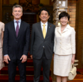 Mauricio Macri Shinzo Abe and Akie Abe cropped Juliana Awada Mauricio Macri Shinzo Abe and Akie Abe 20170519.png