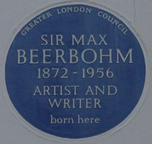 Max Beerbohm - Blue plaque at 57 Palace Gardens Terrace, Kensington, London