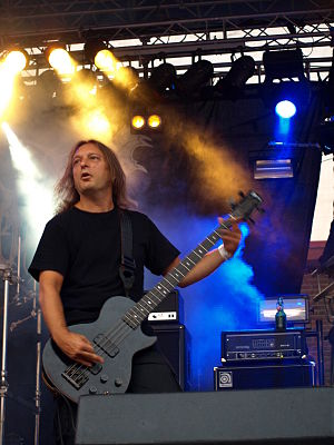 Mayhem (band) - Founding bassist Necrobutcher, shown here performing in 2008.