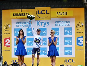 Simon Yates (cyclist) - Yates wearing the White Jersey at the 2017 Tour de France
