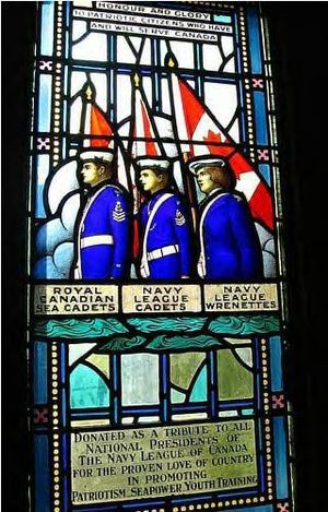 Royal Canadian Sea Cadets - Navy League Wrennette Corp Navy League Cadet Corps (Canada) Royal Canadian Sea Cadets Memorial Stained Glass Window, Currie Hall, Currie Building, Royal Military College of Canada