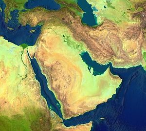 Satellite image of the Middle East