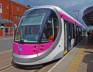 Midland Metro tram no. 20 on display at St. Georges, Bilston Street, Wolverhampton, geograph-4028311-by-P-L-Chadwick.jpg
