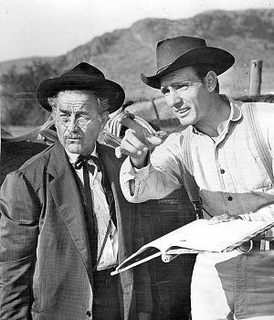 Milburn Stone - With Dennis Weaver on the Gunsmoke set, 1961