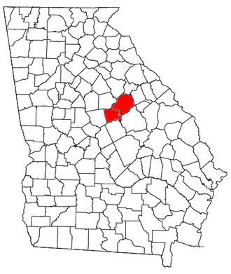 Milledgeville micropolitan area, Georgia - Location of the Milledgeville Micropolitan Statistical Area in Georgia