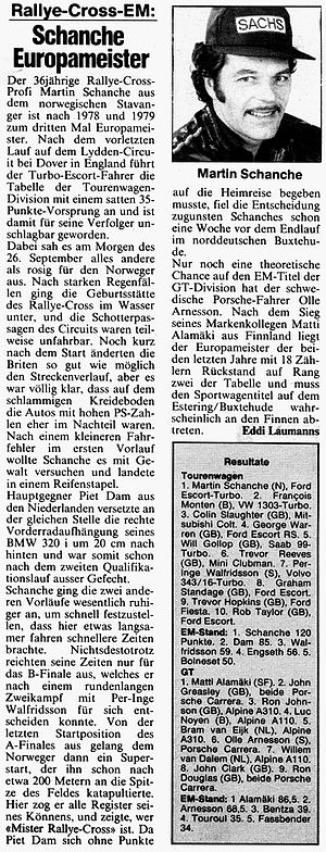 """Martin Schanche - 1981: The first public mentioning of the nickname """"Mister Rallycross"""""""
