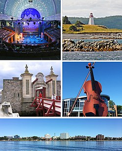 Montage of CBRM sites, clockwise from top left – Highland Arts Theatre, Gabarus Light House, Big Fiddle, Sydney Waterfront, Gate at Fortress of Louisbourg.
