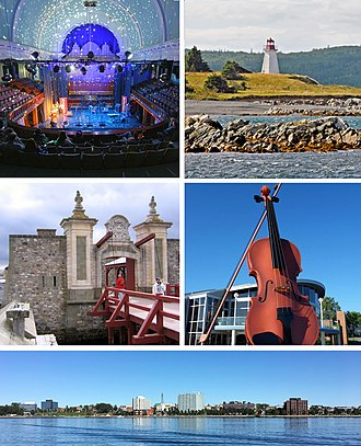 Cape Breton Regional Municipality - Montage of CBRM sites, clockwise from top left - Highland Arts Theatre, Gabarus Light House, Big Fiddle, Sydney Waterfront, Gate at Fortress of Louisbourg.