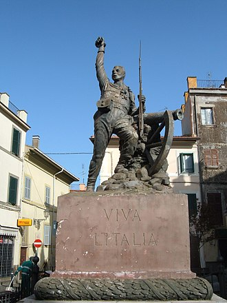 Redshirts (Italy) - A typical patriotic communal monument to the Garibaldini, at Monte Porzio