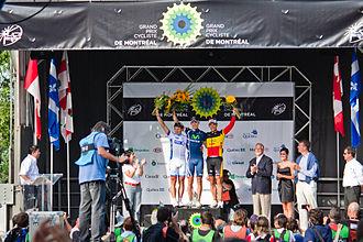 Rui Costa (cyclist) - Costa on the podium after winning the 2011 Grand Prix Cycliste de Montréal