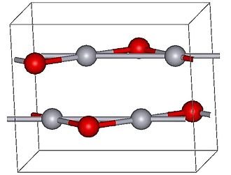 Mercury(II) oxide - Montroydite structure (red atoms are oxygens)
