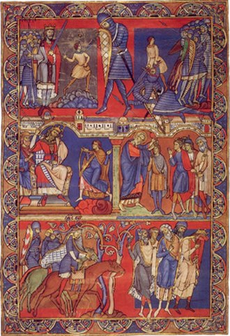 "Romanesque art - The ""Morgan Leaf"", detached from the Winchester Bible of 1160−75. Scenes from the life of David."
