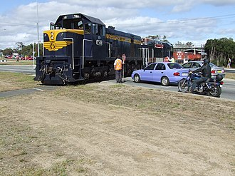 Tourist and Heritage Railways Act - A diesel locomotive operated by the Mornington Railway crosses Moorooduc Highway in February 2007