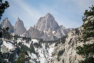 Mount Whitney - East Face close-up seen from the Whitney Portal
