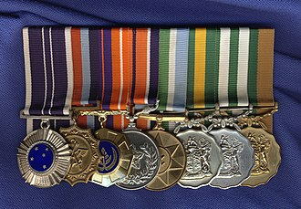 South African military decorations order of wear - Image: Mounted medal set