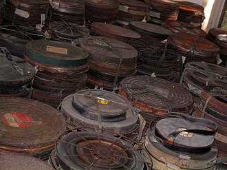 Cinema of the Philippines - Bundles of 35-mm films of several old movies being kept by the Mowelfund at the Movie Museum of the Philippines in Quezon City.