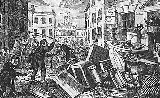 Moving Day (New York City) - A cart full of furniture upset on Moving Day, 1831