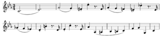 Piano Concerto No. 24 (Mozart) - The principal theme of the first movement, as stated at the beginning of the orchestral exposition
