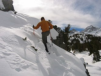 Bibliography of the Sierra Nevada - Skier climbing Mount Morgan