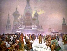 Die Abschaffung der Leibeigenschaft in Russland (Bild von 1914 aus dem Slawischen Epos von Alfons Mucha) (Quelle: Wikimedia)