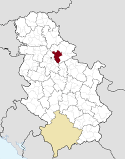 Location of city of Pančevo within Serbia