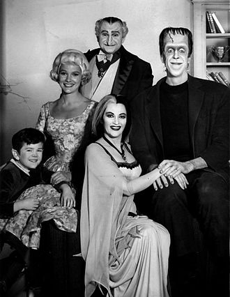 Butch Patrick - 1964 publicity photo of The Munsters cast: Butch Patrick at left with (left to right): Beverley Owen, Al Lewis, Yvonne De Carlo,  and Fred Gwynne